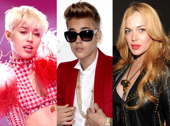 Miley Cyrus, Justin Bieber, Lindsay Lohan