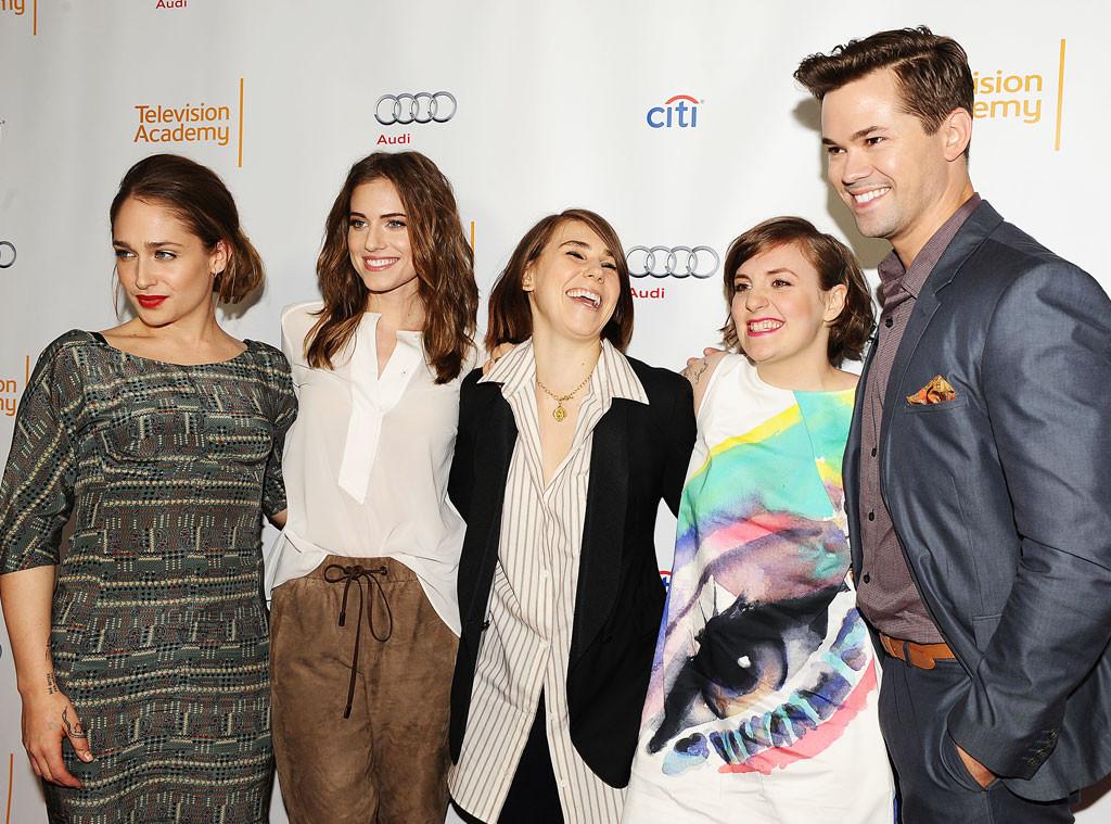 Jemima Kirke, Allison Williams, Zosia Mamet, Lena Dunham, Andrew Rannells, Girls Cast