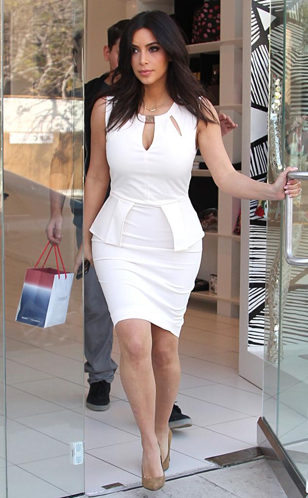 Kim Kardashian White Bodycon Midi Cocktail Party Celebrity