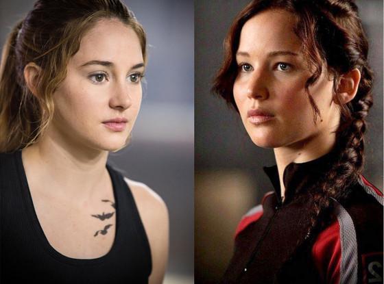 Jennifer Lawrence, The Hunger Games, Shailene Woodley, Divergent