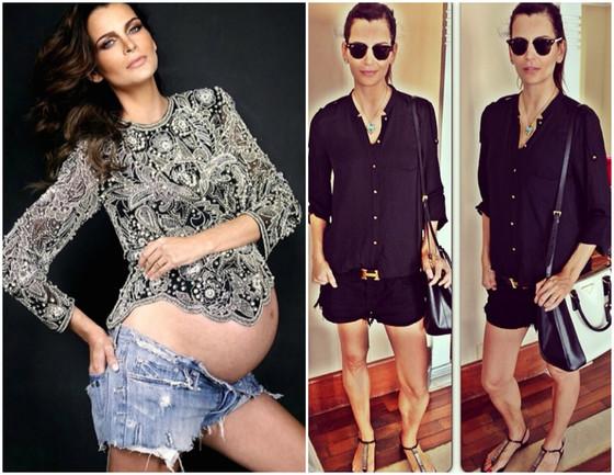 Fernanda Motta antes e depois da gravidez