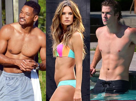 Will Smith, Alessandra Ambrosio, Liam Hemsworth, Shirtless