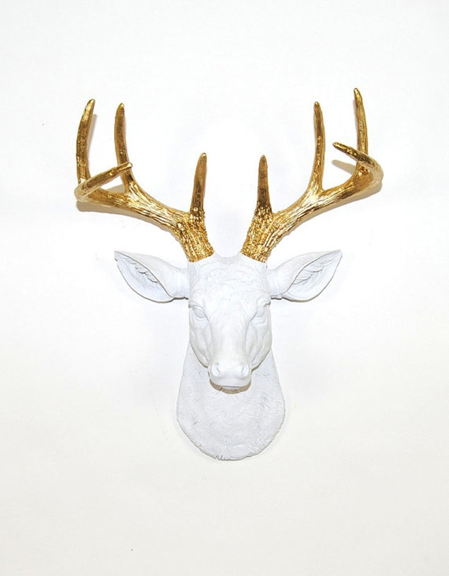 White Faux Taxidermy, Etsy, Horned Items