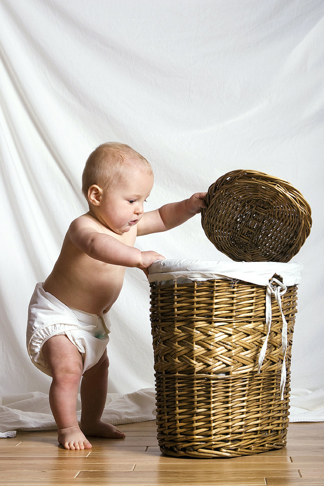 Baby Playing with Laundry Basket, Baby Gallery