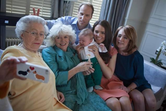 Reina Isabel, Kate middleton, el Principe William, príncipe George, fake