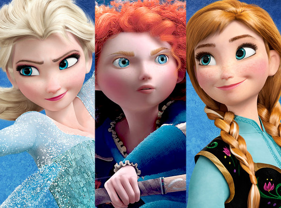 Elsa, Anna, Merida, Frozen, Brave
