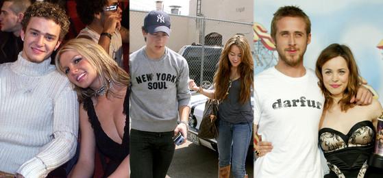 Former Celeb Couples, Britney Spears, Justin Timberlake, Miley Cyrus, Nick Jonas, Rachel McAdams, Ryan Gosling