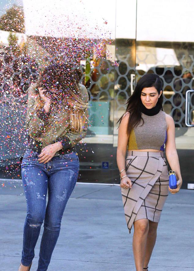 Kourtney Kardashian, Khloe Kardashian, Confetti Bombed