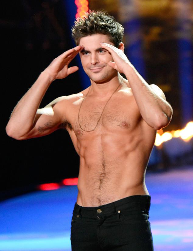 Zac Efron shirtless salute - Zac Efron shirtless - hottest