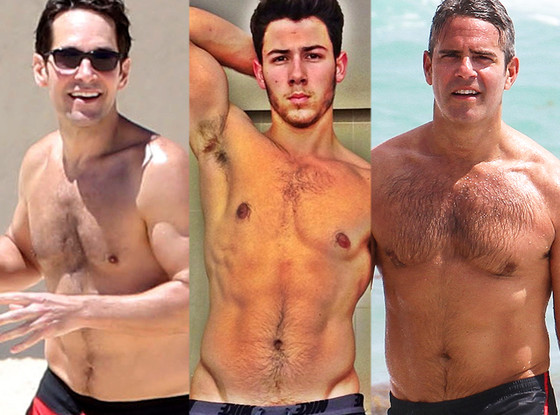 Andy Cohen, Nick Jonas, Paul Rudd, Shirtless