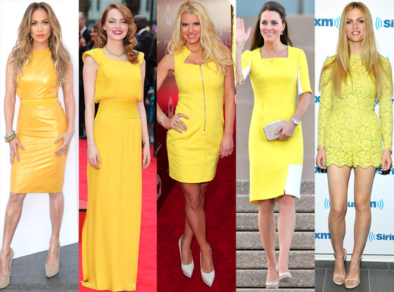 Jennifer Lopez, Emma Stone, Jessica Simpson, Kate Middleton, Brooklyn Decker, Yellow