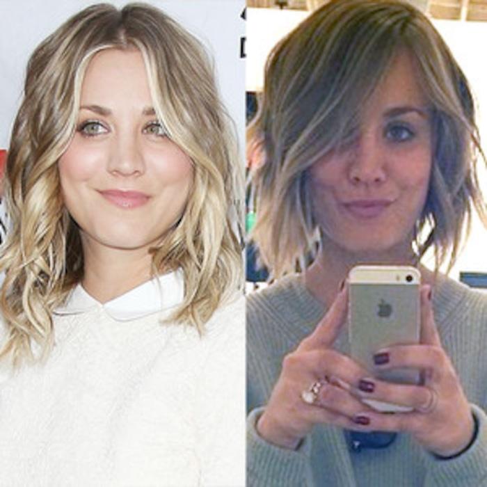 Kaley Cuoco Gets A Choppy Bob Haircuttake A Look E News