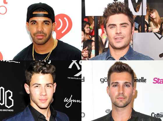 Zac Efron, Nick Jonas, James Maslow, Drake