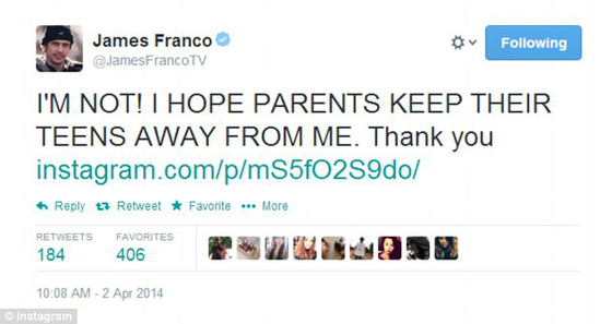 James Franco, Lucy Clode messages