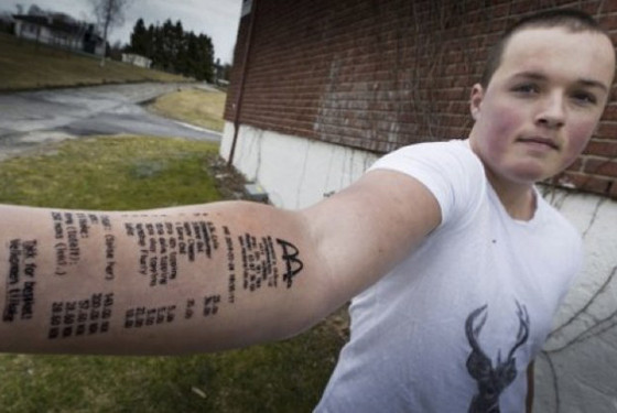 Teen Tattoos Mcdonalds Receipt On His Arm A Week Later Tattoos The