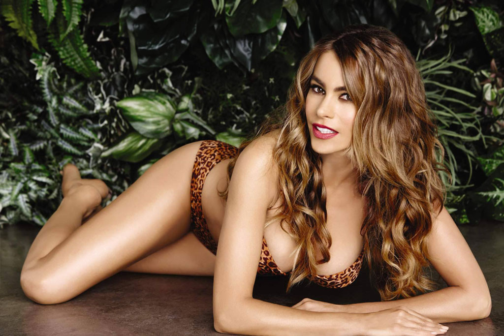 592f66563c959 Sofia Vergara Shows Off Famous Curves In Leopard Print Bikini for Kmart