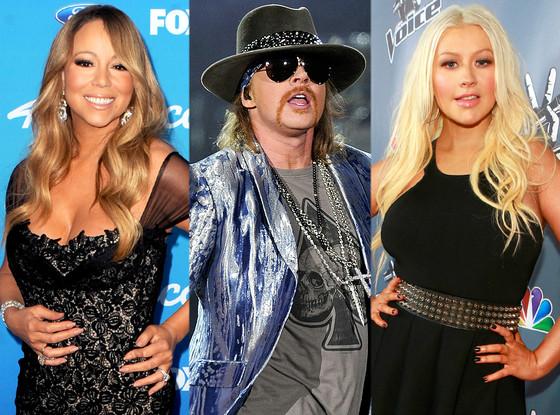 Mariah Carey, Axl Rose, Christina Aguilera