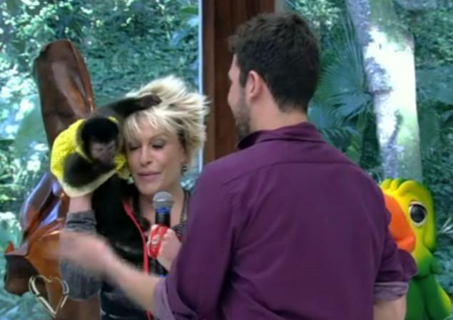 Ana Maria Braga apanha de macaco ao vivo no Mais Você