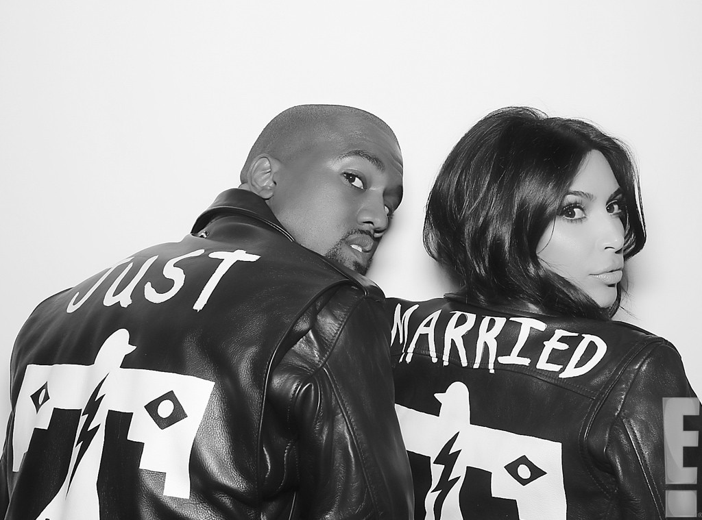 Kim & Kanye Just Married black and white photobooth