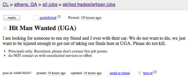 UGA Craigslist Finals post