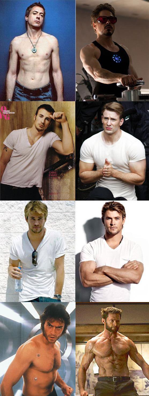 Antes e depois dos atores da Marvel