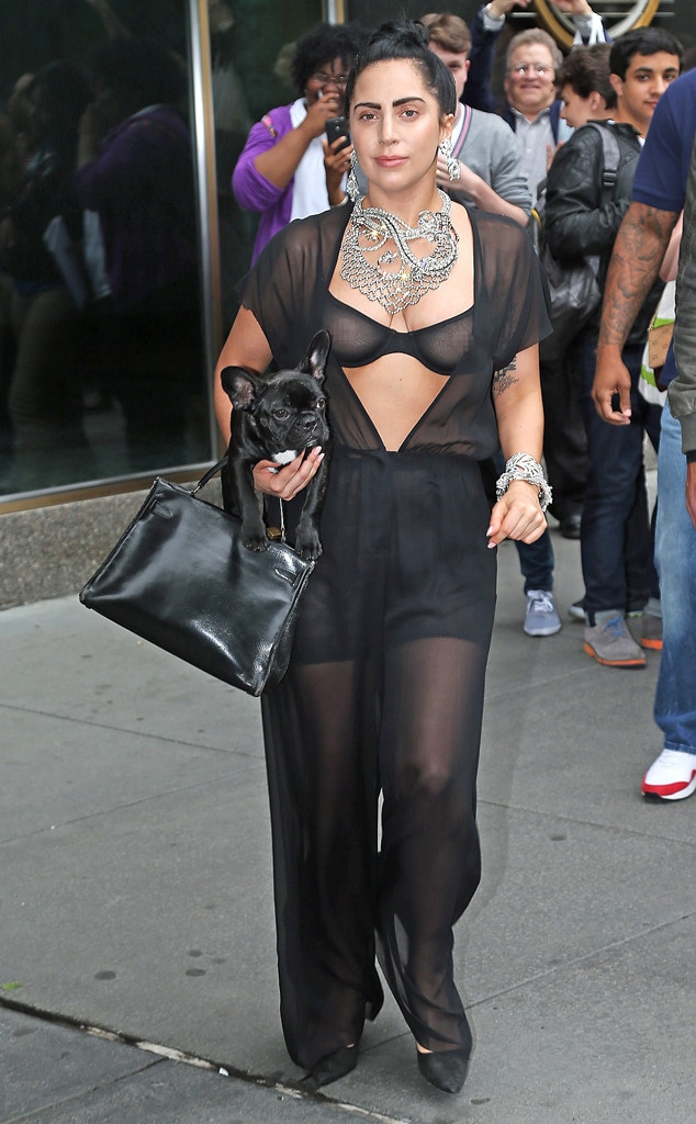 Lady Gaga Flashes Nipples in Sheer Black Outfit - E