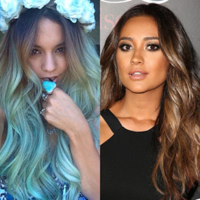 Celebs Hair Color Updates Vanessa Hudgens Blue Green Hair Color