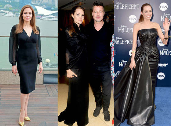 Angelina Jolie, Black Dresses
