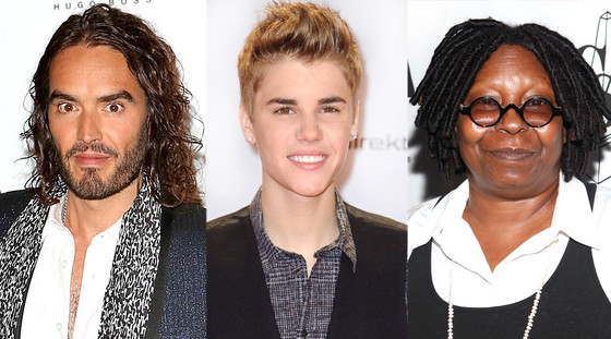 Russell Brand, Justin Bieber, Whoopi Goldberg