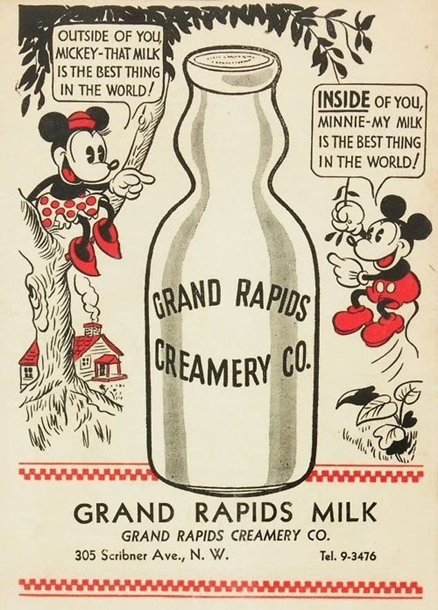 Mickey Mouse, Minnie Mouse, Milk Ad