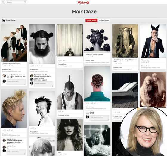 Diane Keaton, Pinterest, Hair Daze
