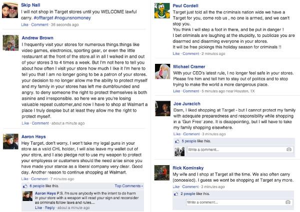 Target Bans Guns, Facebook