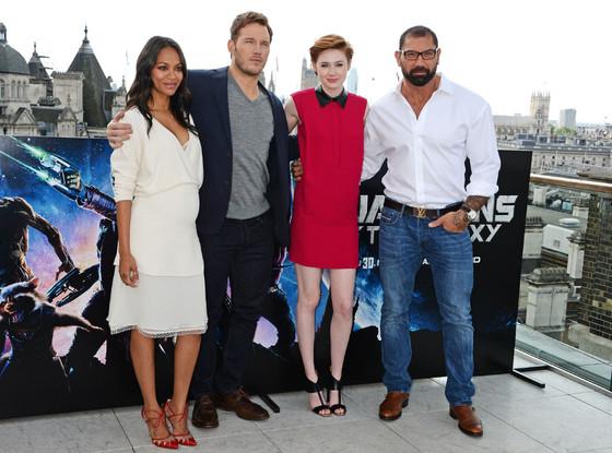 Zoe Saldana, Chris Pratt, Karen Gillan, David Bautista