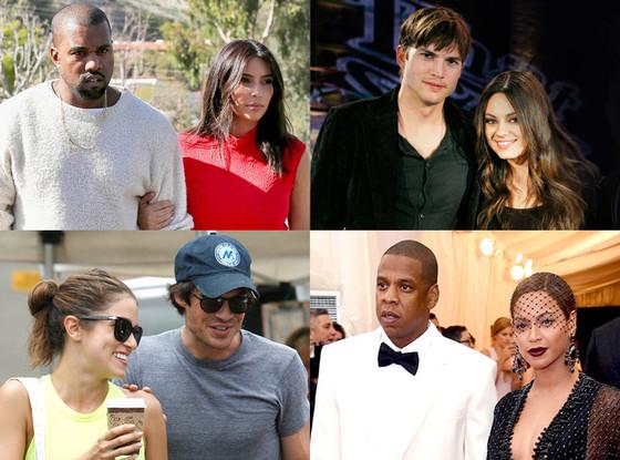 Summer Couples, Kim Kardashian, Kanye West, Ashton Kutcher, Mila Kunis, Nikki Reed, Ian Somerhalder, Jay Z, Beyonce