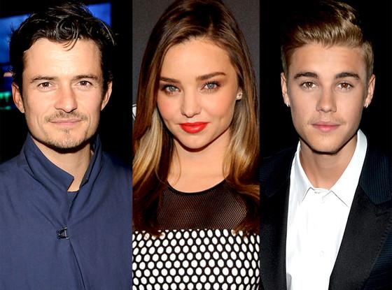 Orlando Bloom, Miranda Kerr, Justin Bieber