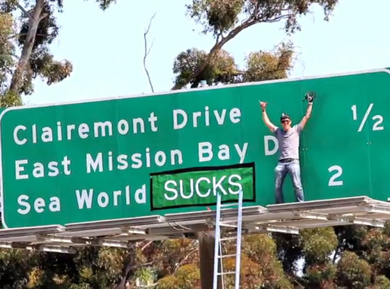 Steve-O, Sea World Freeway Sign