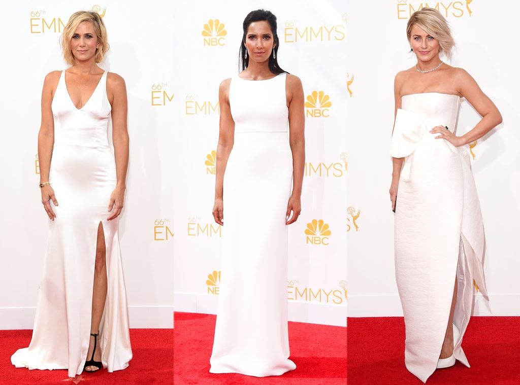 White Column Gowns, Kristen Wiig, Padma Lakshmi, Julianne Hough, Emmy Awards 2014