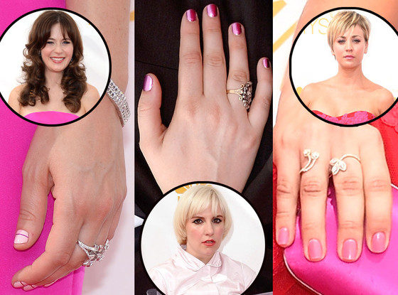 Pink Manicures, Zooey Deschanel, Lena Dunham, Kaley Cuoco-Sweeting, Emmy Awards 2014