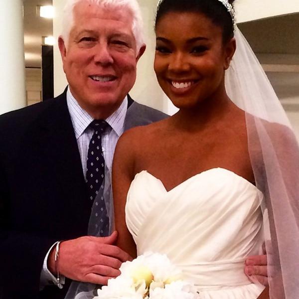 Gabrielle Union Smiles in Wedding Dress Designer Dennis Basso