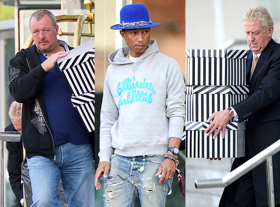 Pharrell Travels With So Many Hats That He Needs Two Guys to Help Carry  Them All—Take a Look! 4632e52979e