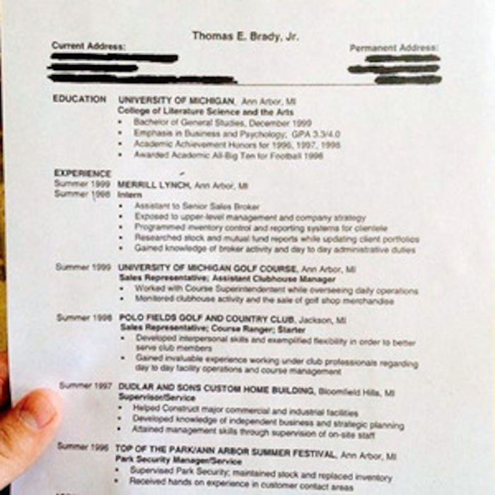 see tom brady s old résumé from his pre patriots days e news