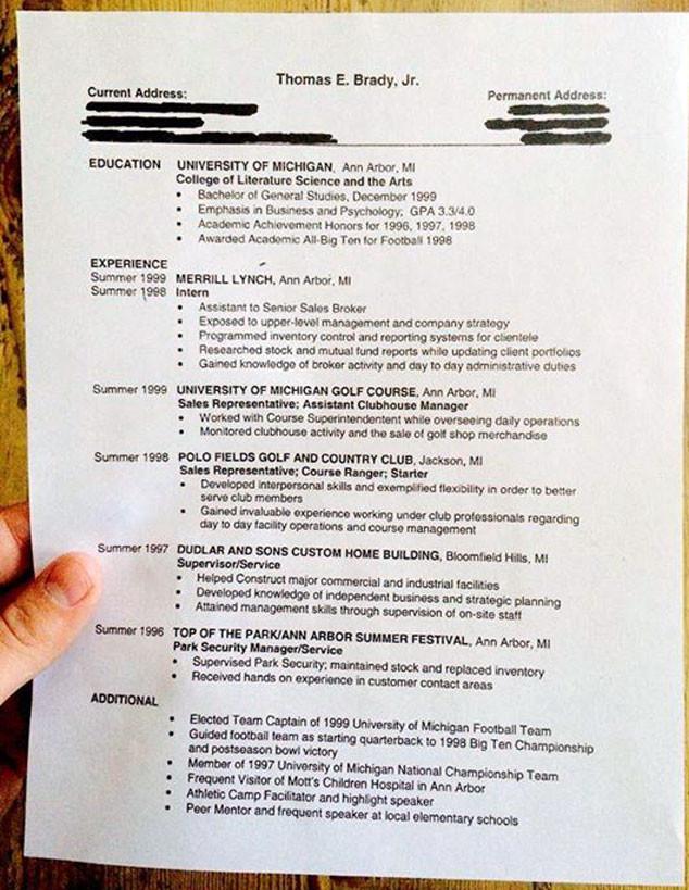 see tom brady s old résumé from his pre patriots days e news