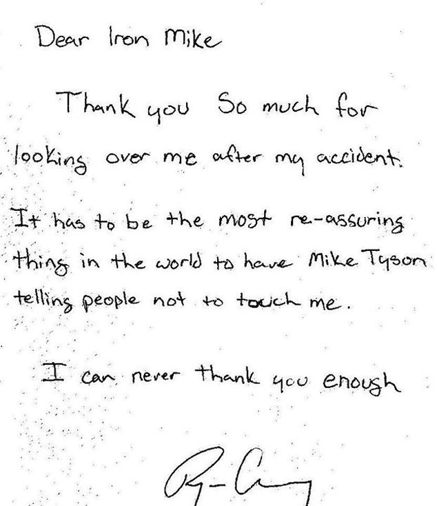 Mike Tyson Thank you Letter