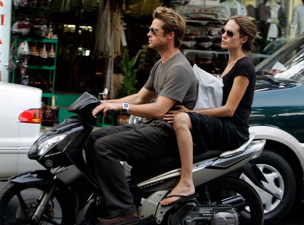 Brad Pitt, Angelina Jolie, Motorcycle