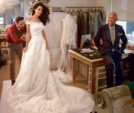 See Amal Alamuddin's Wedding Dress Fitting—Plus, Check Out