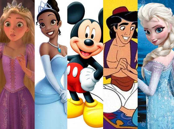 Mickey Mouse, Aladdin, Rapunzel, Tiana, Elsa
