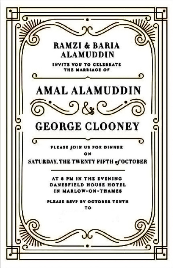 George Clooney, Amal Alamuddin, Dinner Party Invitation