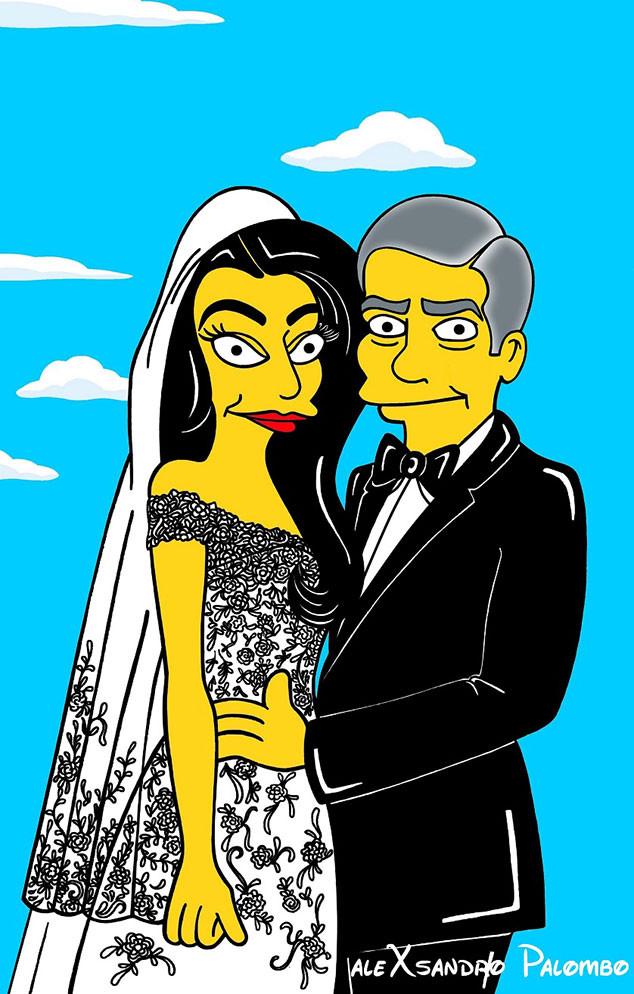 Amal Alamuddin, George Clooney, Wedding, Simpsonized