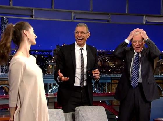 Jeff Goldblum, David Letterman, Emilie Livingston