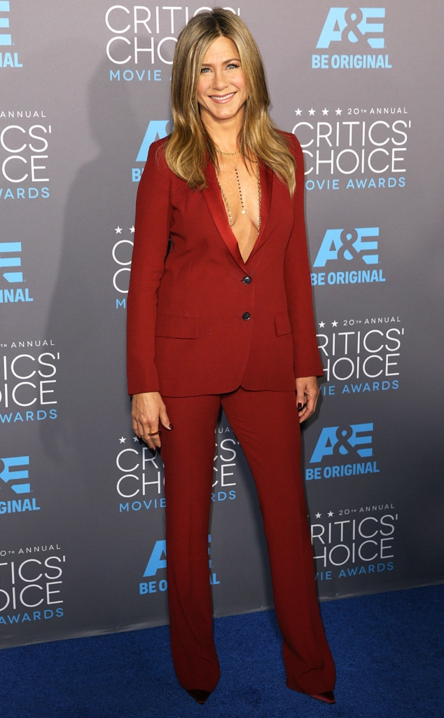 Jennifer Aniston -  To complete her shirtless look, the  Dumplin' actress accessorized with a golden jewelry.